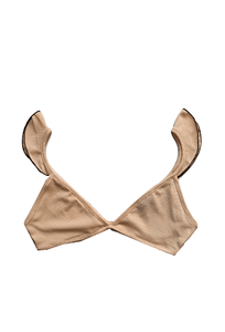 PrettyLittleThing Womens Basic Nude Contrast Frill Bralet