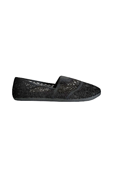 Womens Floral Lace Black Slip-on Flats