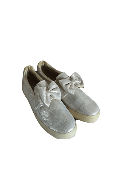 Y&L Womens Silver with Gold Detail Ribbon Pumps