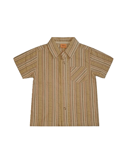 Minimode Baby Boys Brown Striped Shirt