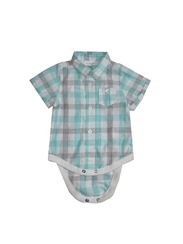 Next Baby Boys Teal Grey Check Shirt Bodysuit