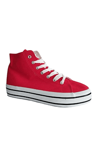 Salt & Pepper Womens Red Canvas Hi-tops
