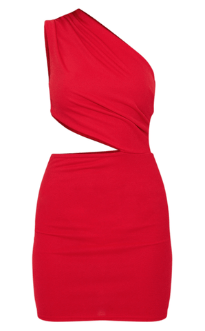PrettyLittleThing Womens Red One Shoulder Cut Out Bodycon Red Dress