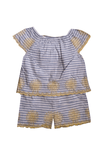 Nutmeg Blue Stripe Floral Detail Baby Girls Playsuit - Stockpoint Apparel Outlet