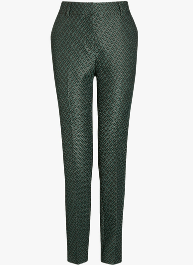 Next Womens Green Jacquard Taper Trousers