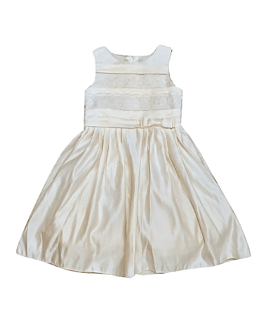 Sugar Plum Girls Cream Satin  A-Line Dress