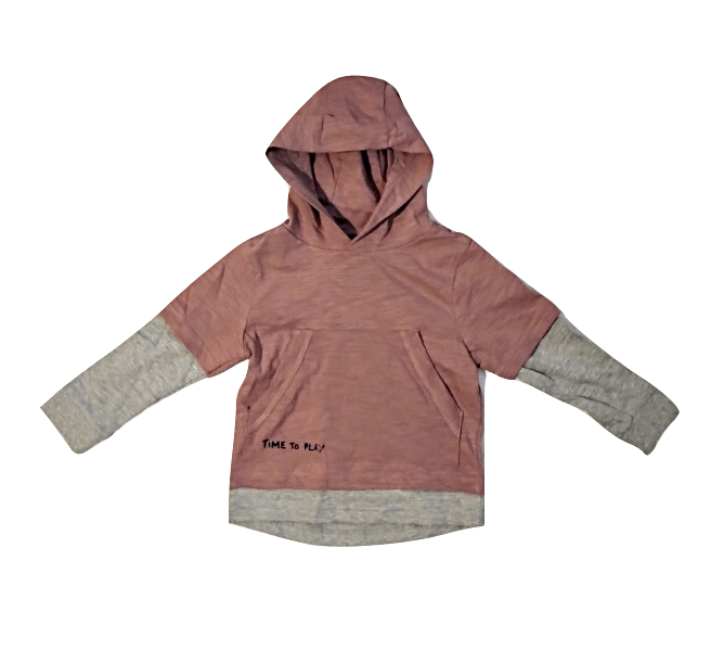 George Younger Boys Pink with Grey Hoodie Top