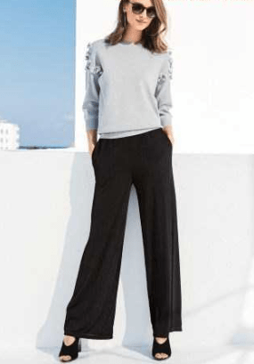 Next Womens Black Wide Leg Pleated Trousers