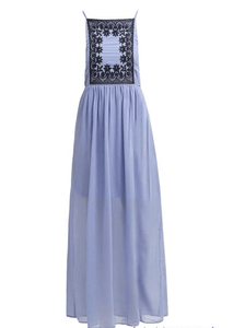 First And I Fijacob Country Blue / Black Maxi Dress - Stockpoint Apparel Outlet