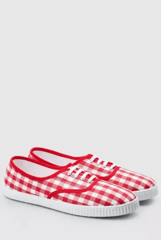 Next Womens Red / White Check Print Slip-On Pumps