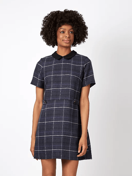 George Womens Woven Check Peter Pan Collar Dress