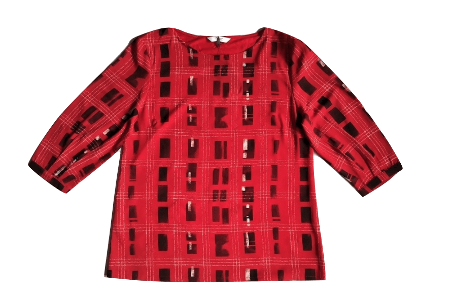 Next Womens Black Pattern Red Top