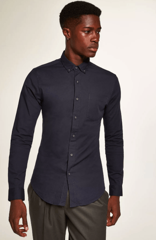 Topman Navy Stretch Skinny Oxford Mens Shirt