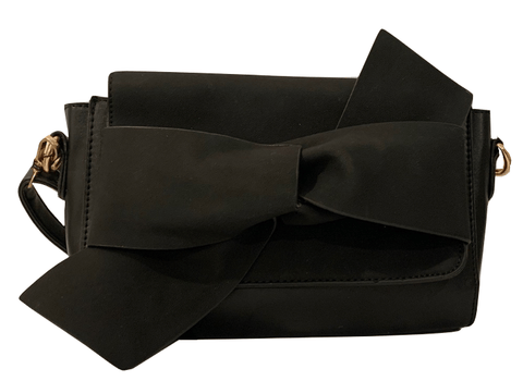 Ella Black Bow Detail Womens Crossbody Bag
