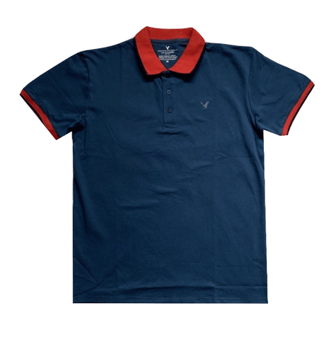 American Eagle Blue with Red Detail Mens Polo Shirt