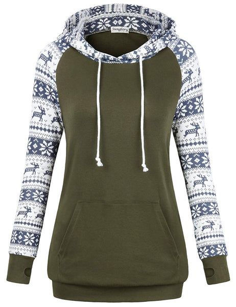 Sunglory Womens Long Sleeve Hoodie with Kangaroo Pocket