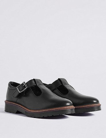 M&S Girls Leather T-Bar Black School Shoes