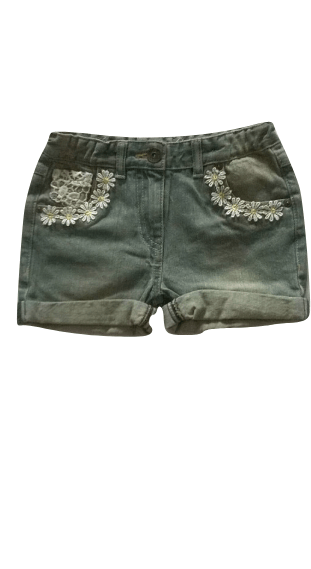 TU Girls Floral Lace Detail Blue Jeans Shorts - Stockpoint Apparel Outlet