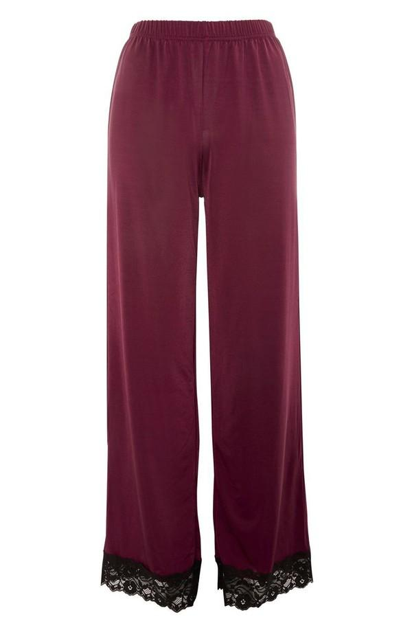 Topshop Womens Jersey Satin & Lace Berry Pajama Pants