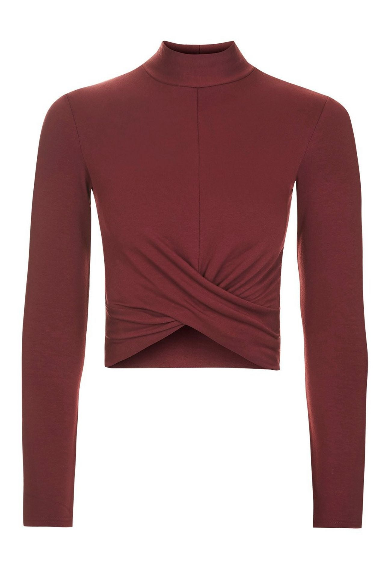 Topshop Petite Womens Wine Long Sleeve Twist Front Crop Top