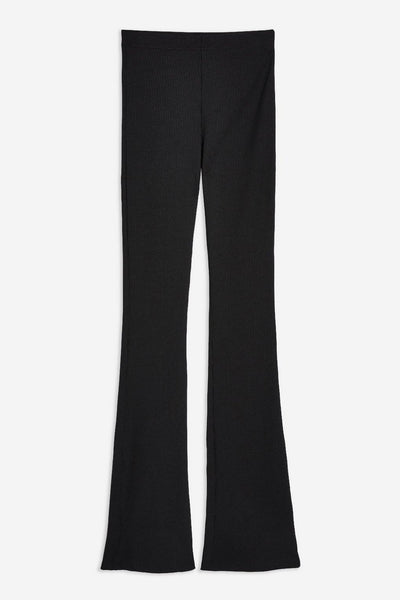 Topshop Womens Ribbed Jersey Flare Trousers
