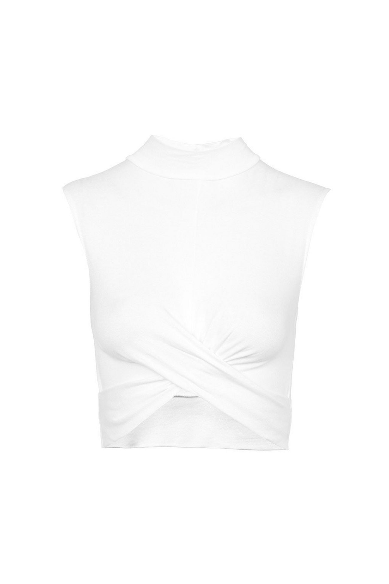 Topshop Womens White Twist Front Crop Top - Stockpoint Apparel Outlet
