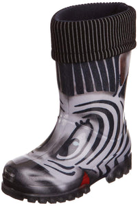 Toughees Boys/Girls Unisex Warm Fleece-sock Zebra Wellingtons Boot
