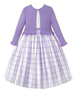 American Princess White & Lilac Ruffle-Accent Sweater & Plaid Younger Girls Dress