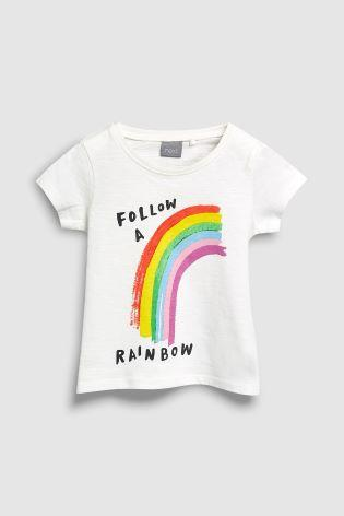 Next Baby Girls White Rainbow T-Shirt