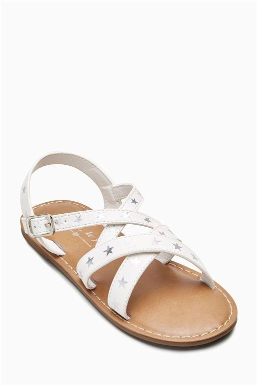 Next Girls White Star Sandals