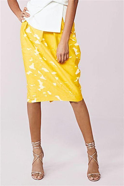 Next Womens Yellow Jacquard Tulip Skirt