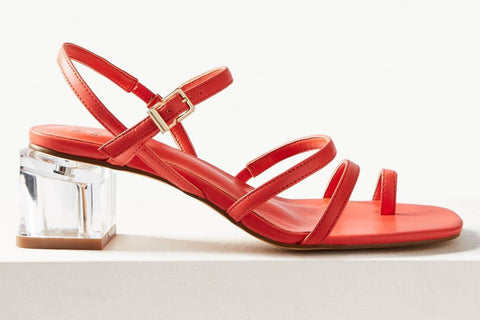 M&S Collection Orange Ankle Strap Womens Sandals
