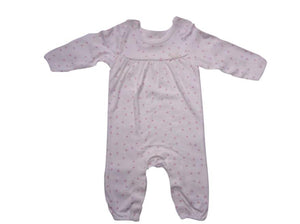 Pink Dot White Romper - Stockpoint Apparel Outlet