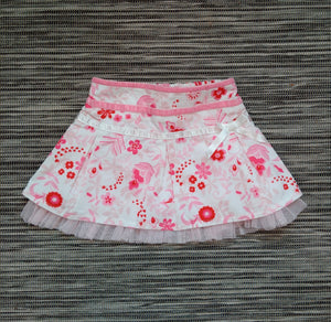 Baby Girls Red & Pink Floral Skirt