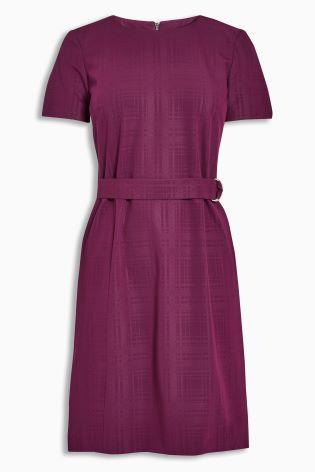 Next Womens Petite Berry Belted Workwear Dress