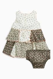 Next Monochrome Patchwork Tunic And Knickers Set - Stockpoint Apparel Outlet