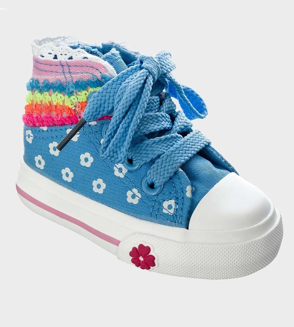 Kelsi Girls Sequin Blue Floral Lace Up Hi-Top Sneakers