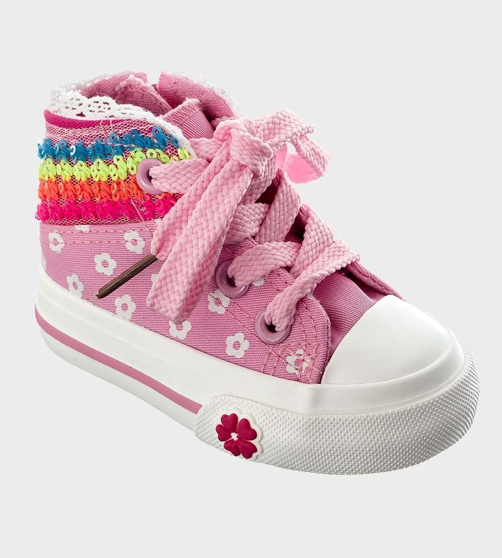 Kelsi Baby Girls Sequin Pink Floral Lace Up Hi-Top Sneakers