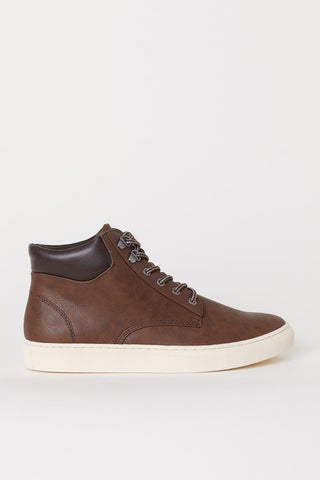 H&M Men's High Tops Trainers,  Brown - Stockpoint Apparel Outlet