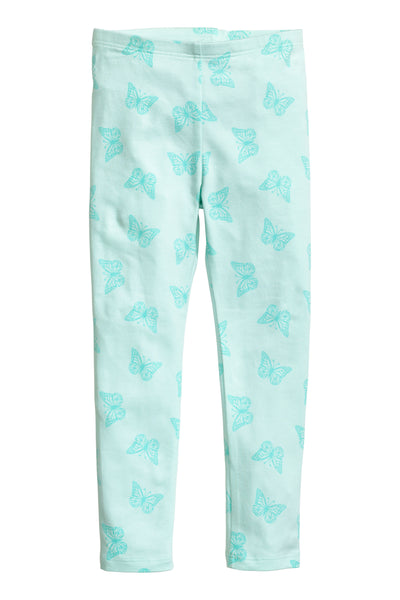 H&M Girls Mint Green Butterflies Jersey Leggings - Stockpoint Apparel Outlet