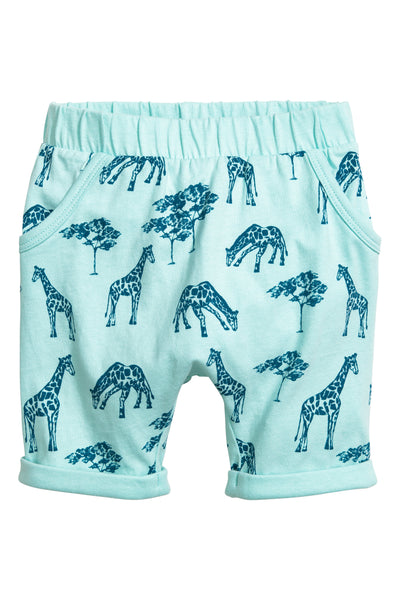H&M Baby Boys Jersey Shorts Light Turquoise Giraffe