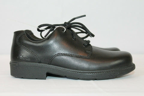 Clarks Deaton Black Leather Boys Shoes