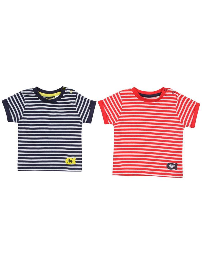 BHS Mini B Baby Boys Striped Twin Pack T-Shirt Set
