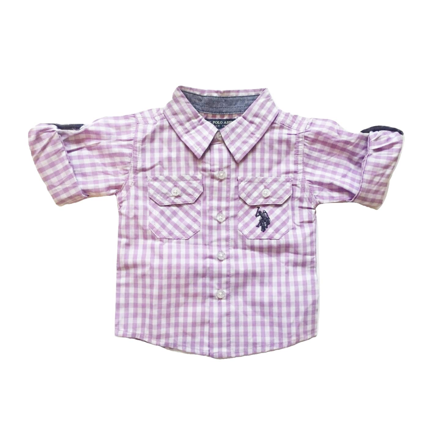US Polo Assn Boys Purple Checked Short/Longsleeve fold up - Stockpoint Apparel Outlet