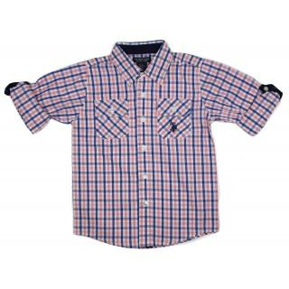 US Polo Assn Baby Boys Purple Blue Checked Short/Longsleeve Fold up Shirt