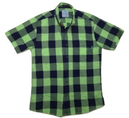 Attire UK Mens Short-Sleeve Green with Black Check Shirt