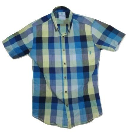 Attire UK Mens Short-Sleeve Yellow with Blue Check Shirt