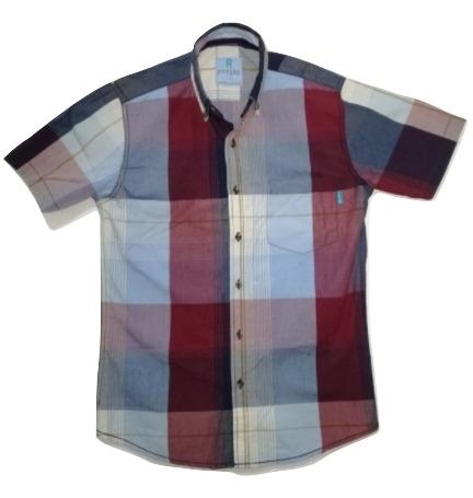 Attire UK Mens Short-Sleeve Red with Blue Check Shirt