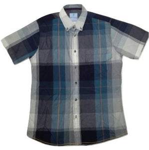 Attire UK Mens Short-Sleeve Blue with Grey Check Shirt