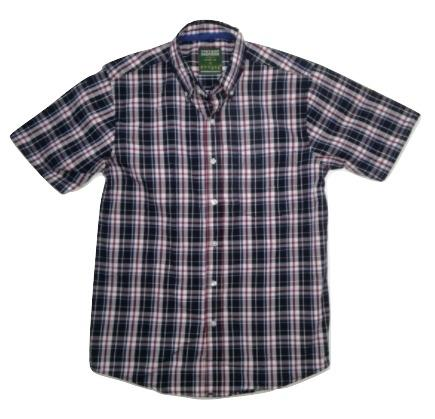 Attire UK Mens Short-Sleeve Blue with Red Check Shirt